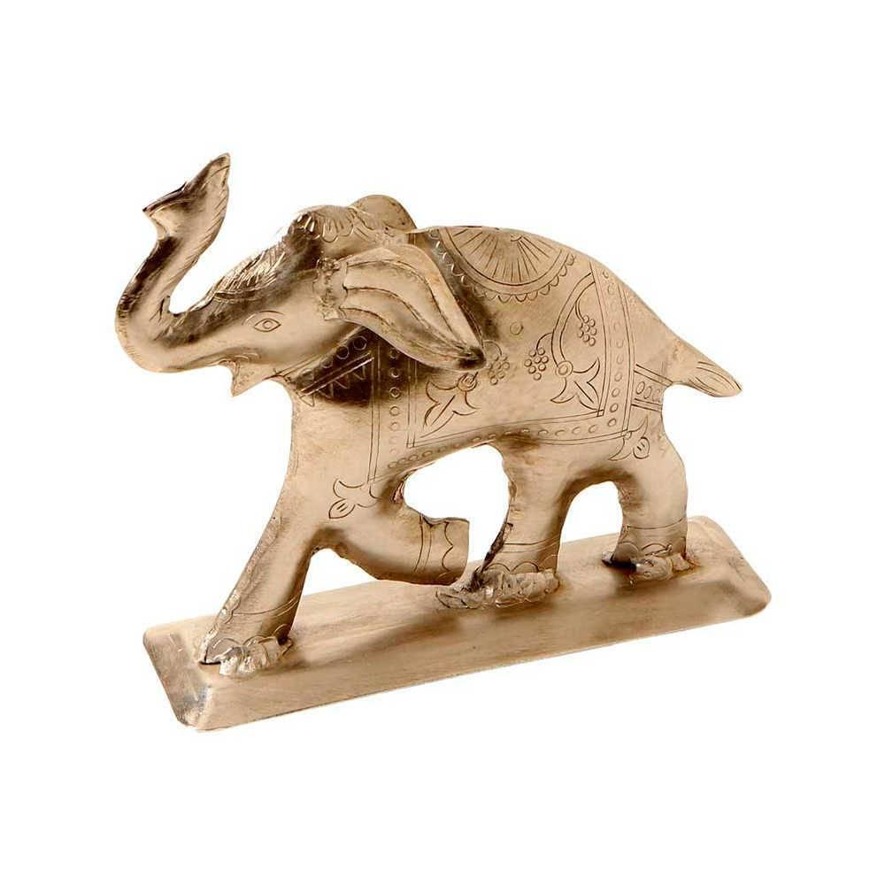 Estatueta Elefante Prata Pequeno em Metal Indiano - 17x16 cm