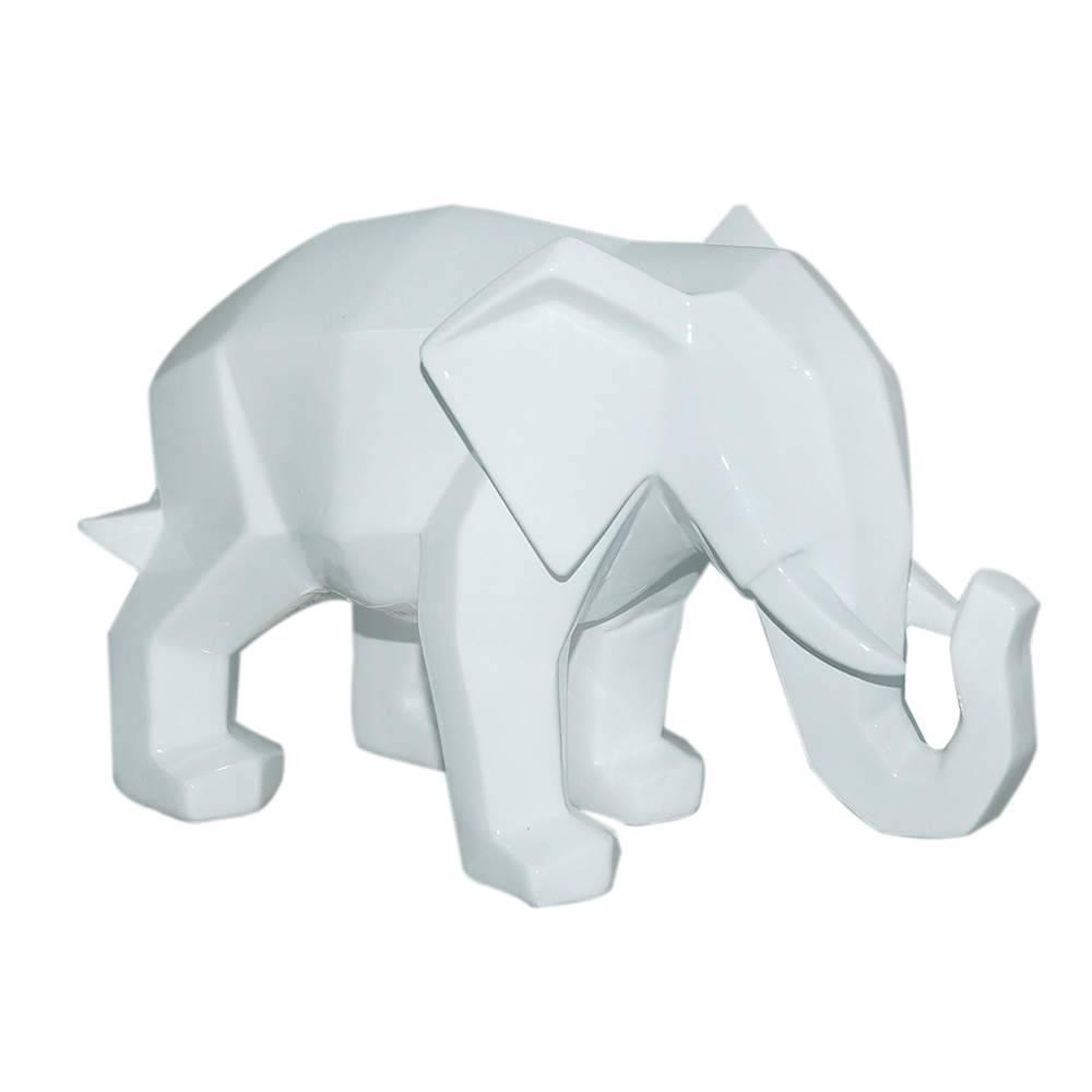 Estatueta Elephant Snout Down Branco em Resina - Urban - 22,5x14 cm