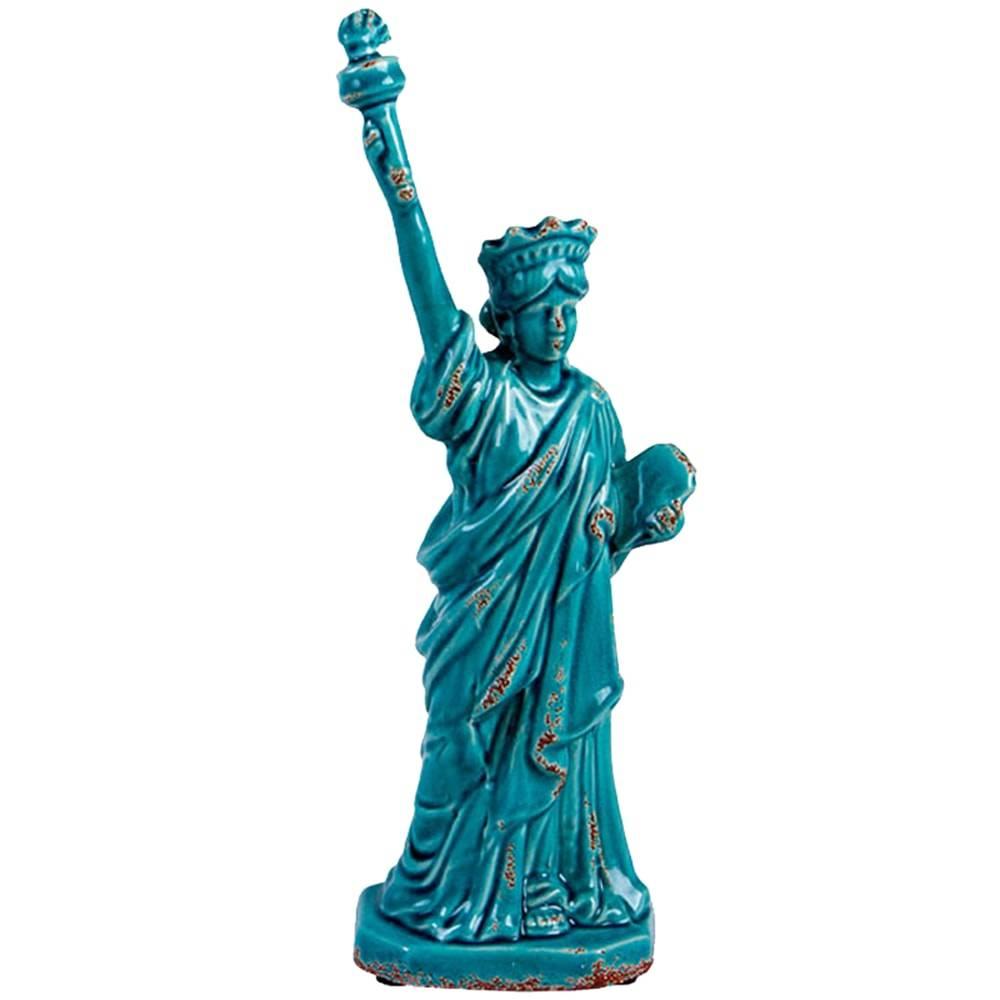 Estatueta Estátua da Liberdade Blue em Cerâmica - 38x14 cm