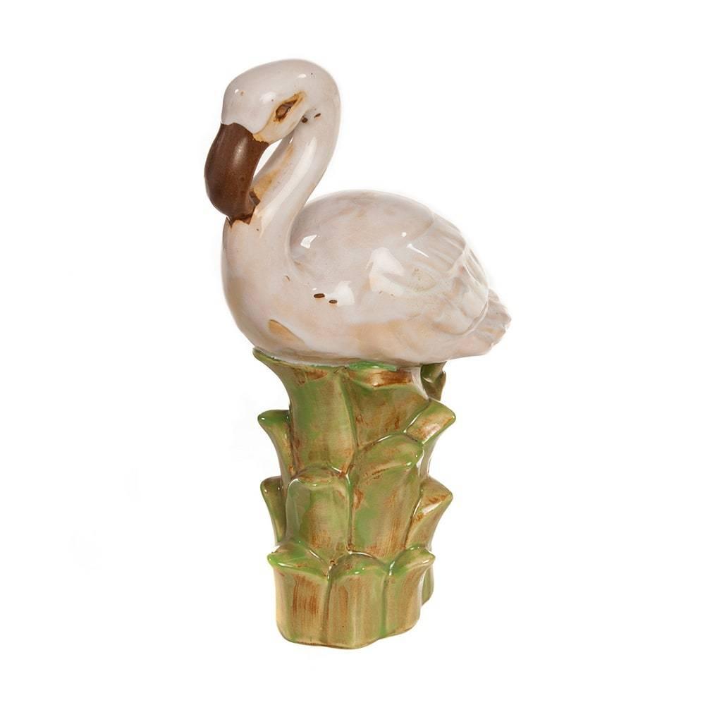 Estatueta Flamingo Branco/Verde em Cerâmica - 31x20 cm
