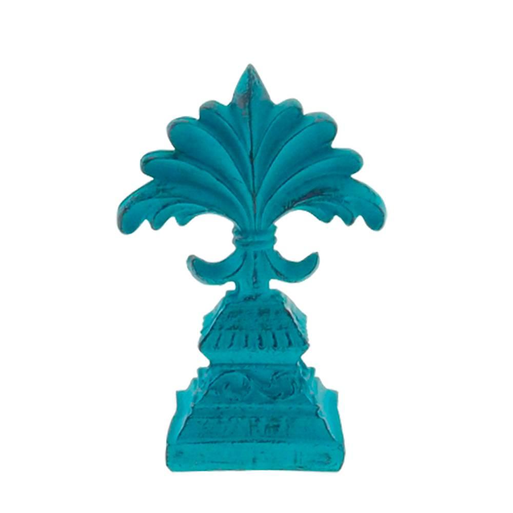 Estatueta Flor de Lís Provençal Azul Pátina em Resina - 25x10 cm