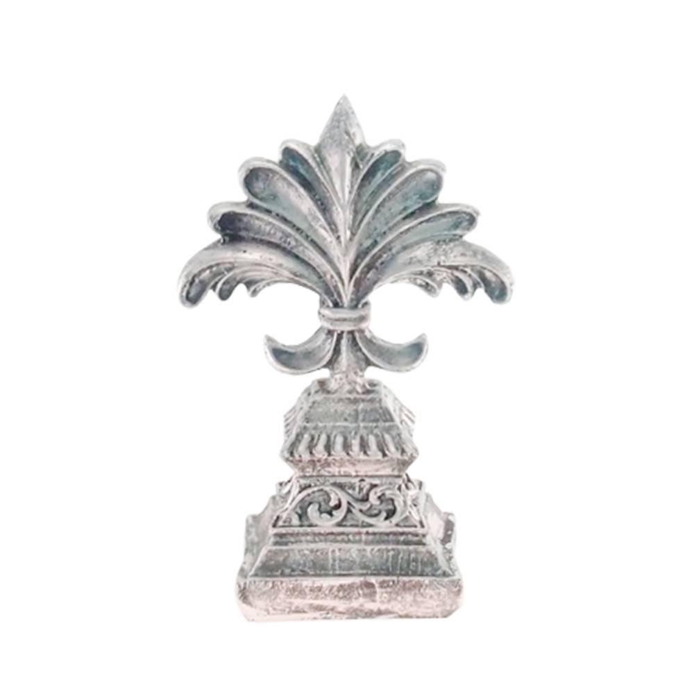Estatueta Flor de Lís Provençal Prata Pátina em Resina - 25x10 cm