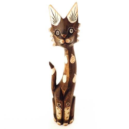 Estatueta Gato de Bali / Siames - Em Madeira - Importado - 59x7 cm