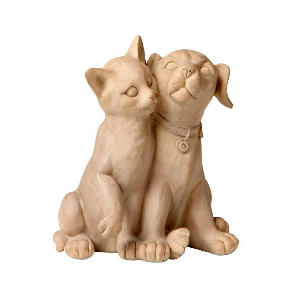 Estatueta de Gato e Cachorro Abraçados em Resina - 17x14 cm