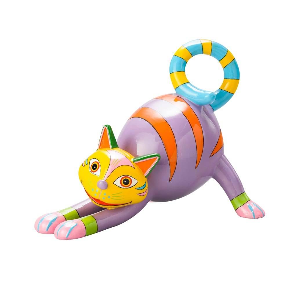 Estatueta Gato Manhoso Colorida em Poliresina - Lyor Design - 17,8 cm