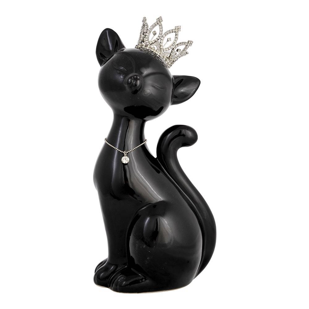 Estatueta Gato Sentado Pequeno Preto em Cerâmica - 30x14 cm