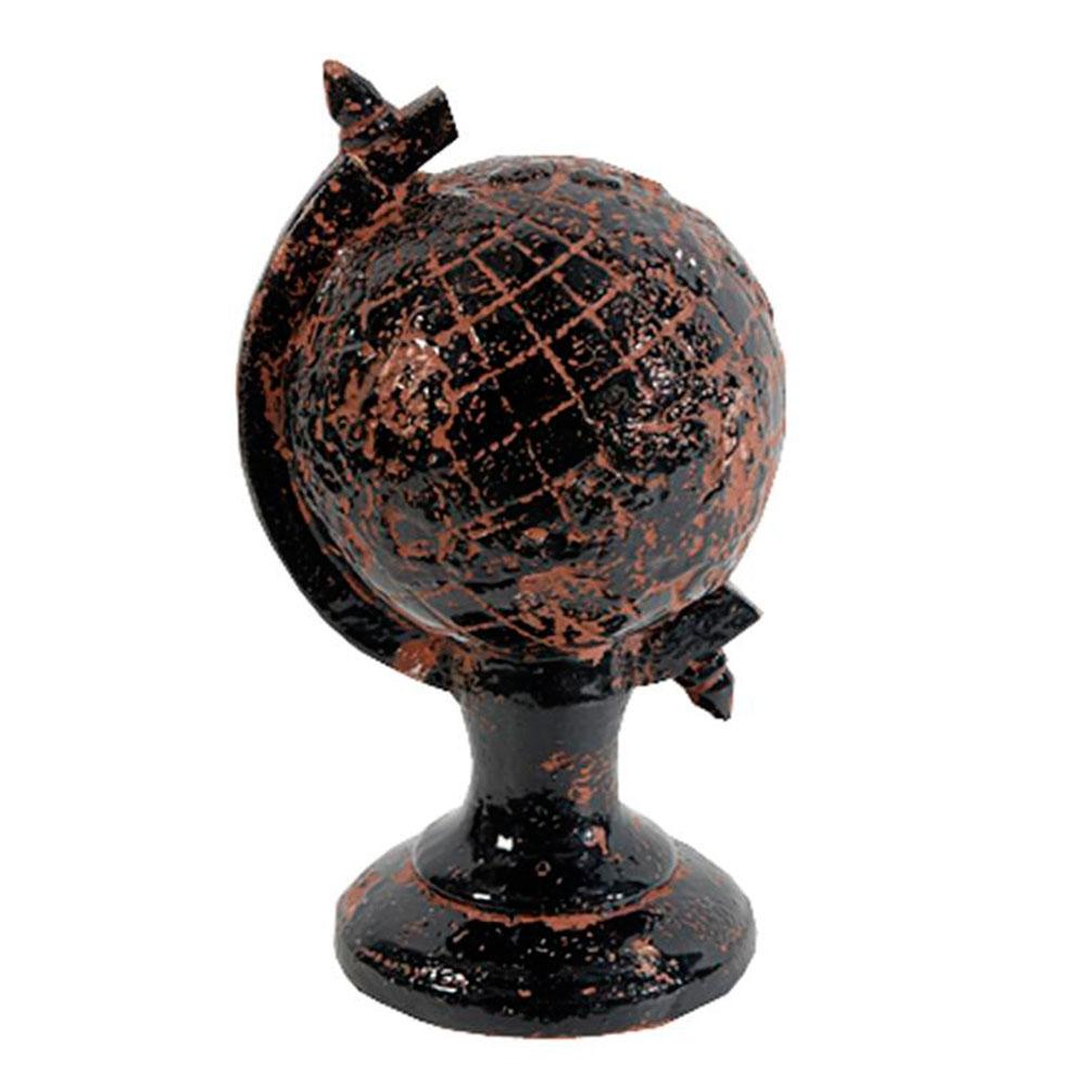 Estatueta Globo Preto em Cerâmica - 17x12 cm