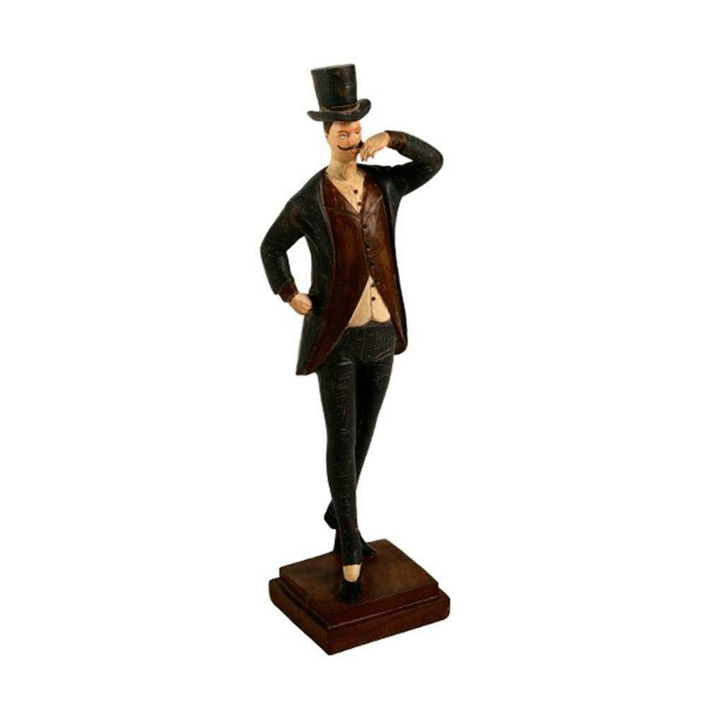 Estatueta Homem 1900 Marrom e Preto em Resina - 30x16 cm