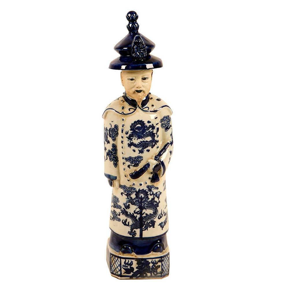 Estatueta Imperador Azul e Branco em Porcelana - 40x9 cm
