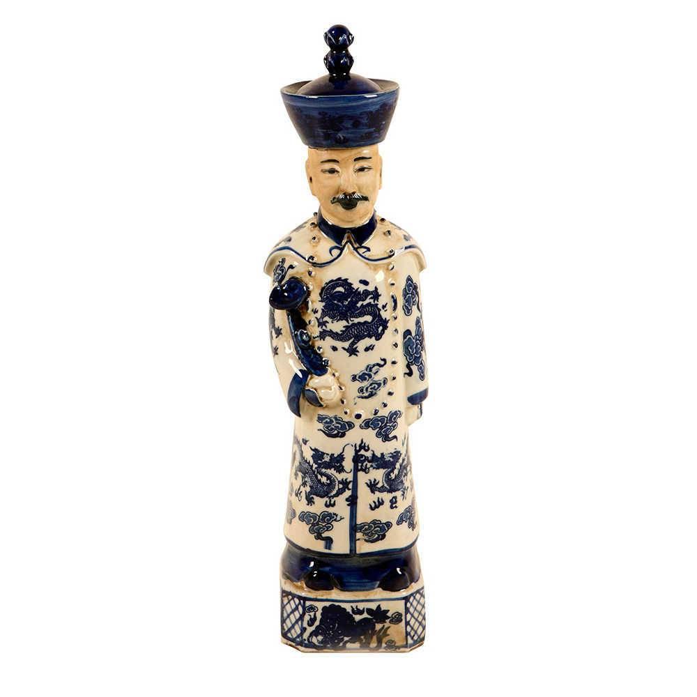 Estatueta Imperador Chinês Azul e Branco em Porcelana - 40x10 cm