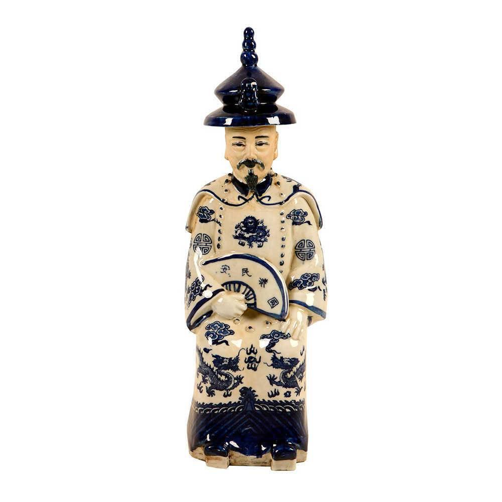 Estatueta Imperador com Leque Azul e Branco em Porcelana - 37x12 cm