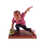 Estatueta Jogador de Boliche em Resina - 14x13 cm