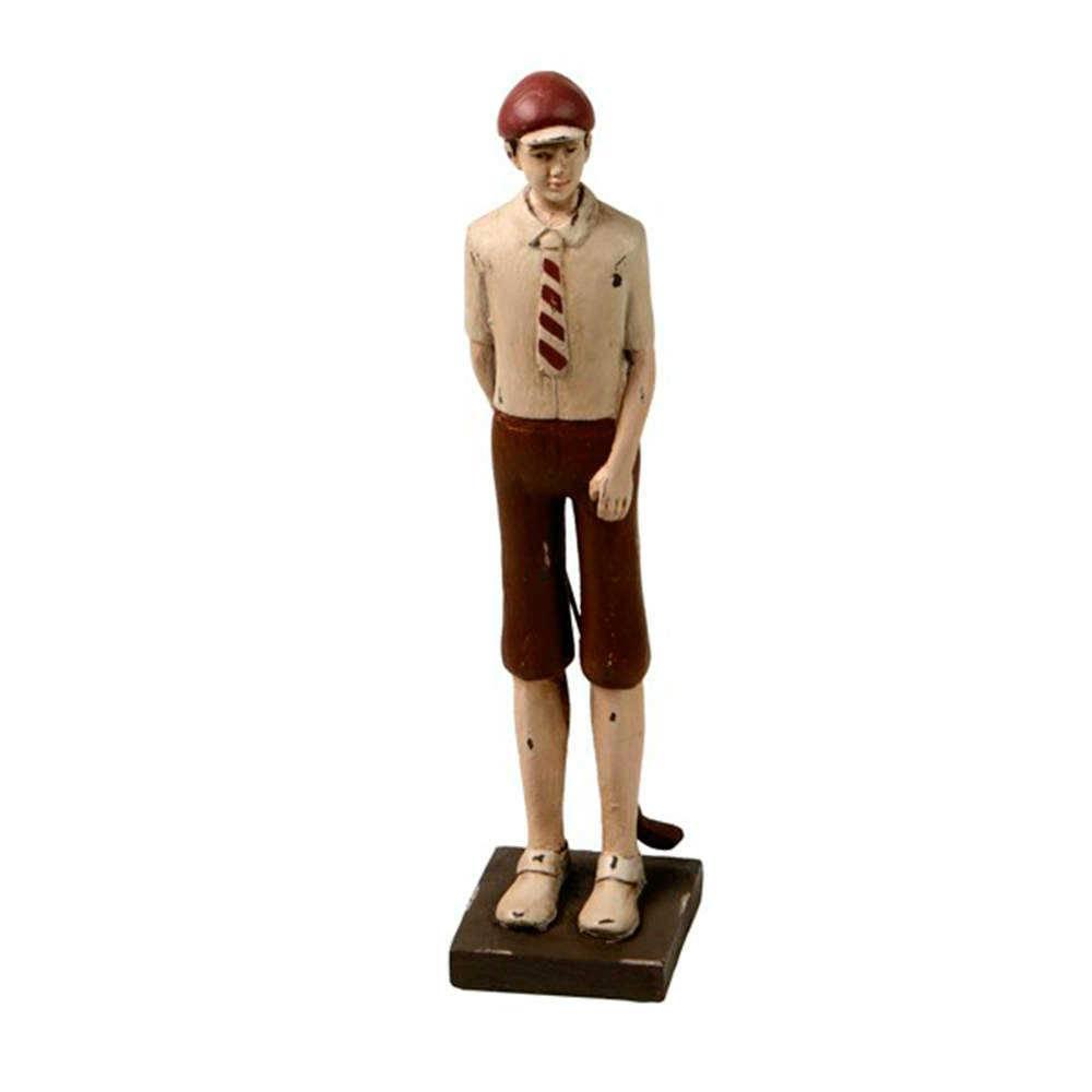 Estatueta Jogador de Golf de Short Marrom em Resina - 32x16 cm