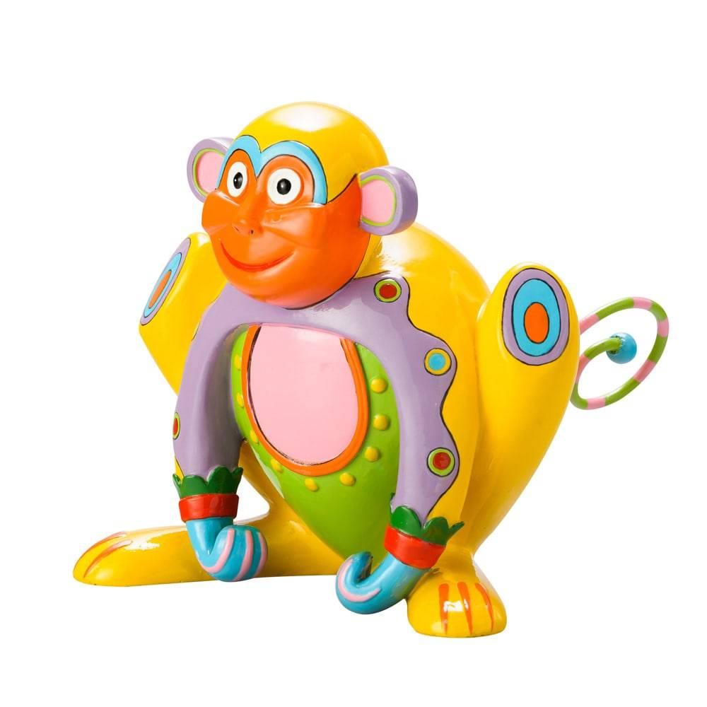 Estatueta Macaco Colorido em Poliresina - Lyor Design - 17,5 cm