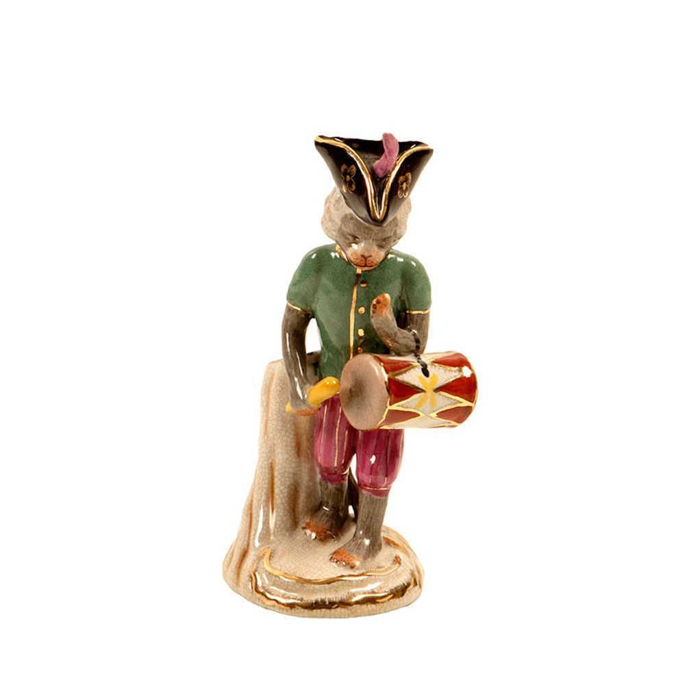 Estatueta Macaco com Tambor em Porcelana - 27x11 cm