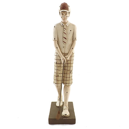 Estatueta Menino segurando taco de Golf em Resina - 31x12 cm
