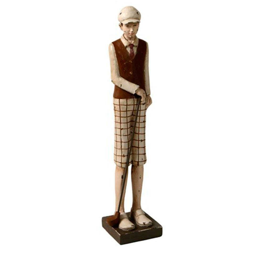 Estatueta Menino de Short Quadriculado Jogando Golf em Resina - 41x16 cm