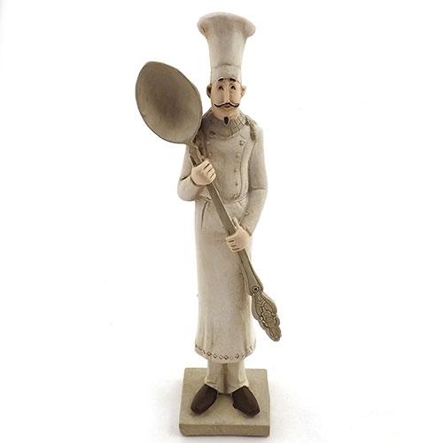 Estatueta / Miniatura de Cheff com Colher - Em Resina - 7x27 cm