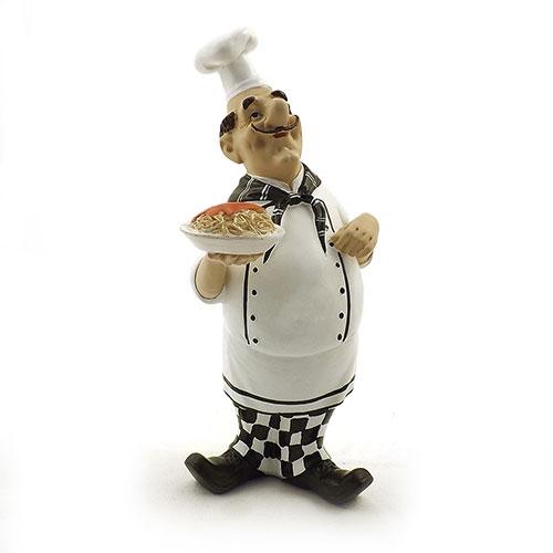 Estatueta / Miniatura de Cheff com Prato de Macarrão - Em Resina - 12x26 cm