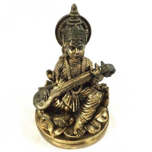 Estatueta / Miniatura Deusa Saraswati Flor de Lotus - Em Gesso - 23x35 cm