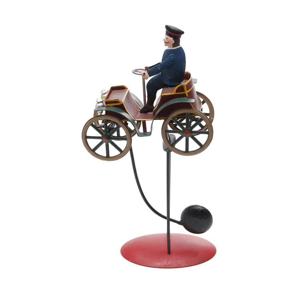 Estatueta Motorista de Calhambeque em Metal - com Balanço - Prestige - 34x16 cm