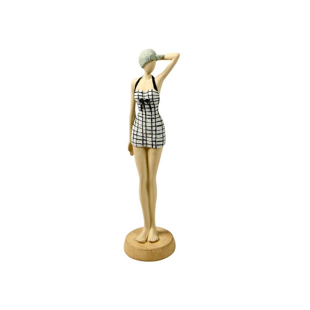 Estatueta Mulher Modelo Anos 60 em Resina - 31x8 cm