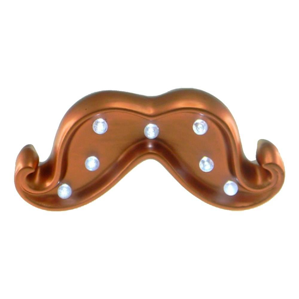 Estatueta Mustache Cobre com Luzes de Led Embutidas em Cerâmica - 17x6