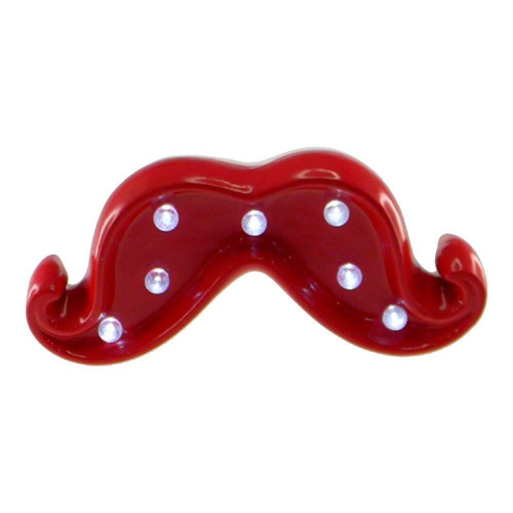 Estatueta Mustache Vermelha com Luzes de Led Embutidas em Cerâmica - 17x6 cm