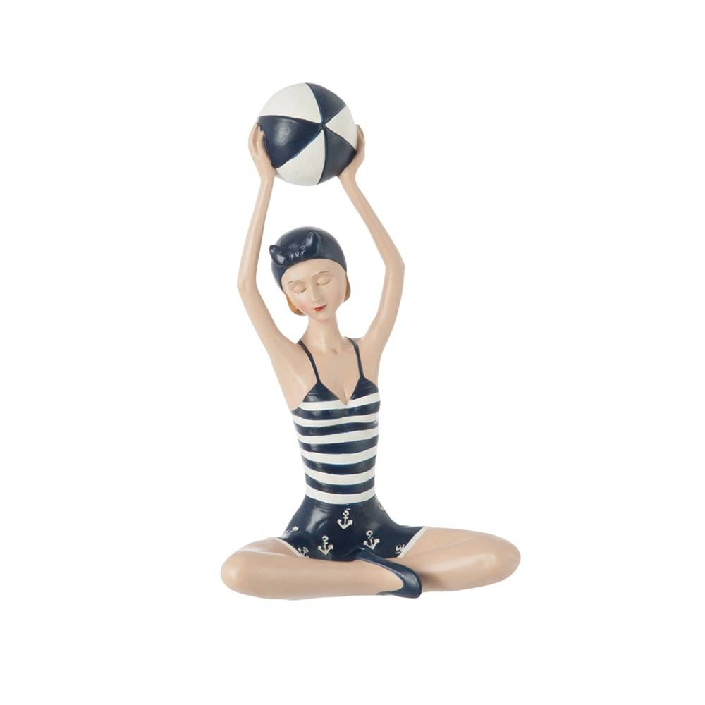 Estatueta Nadadora Branco/Azul com Bola Levantada - 25x15 cm