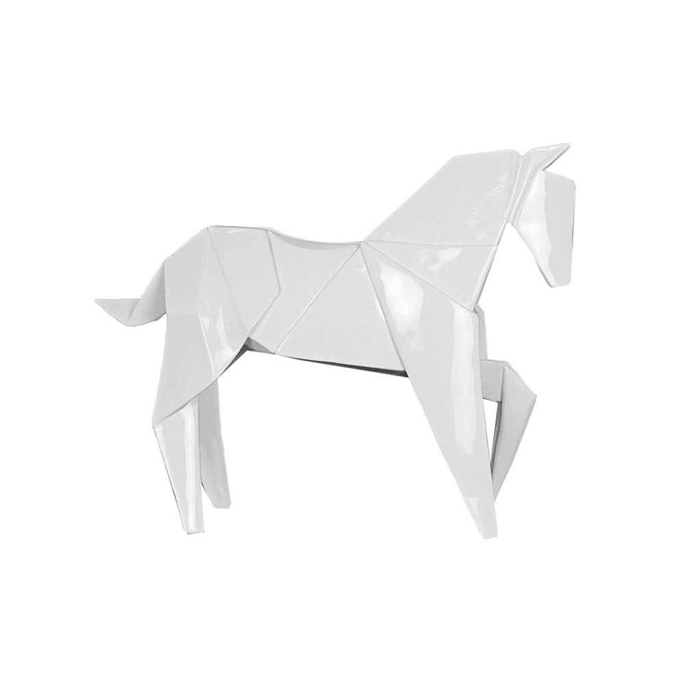 Estatueta Origami Horse Branco Grande em Resina - Urban - 42x33,5 cm