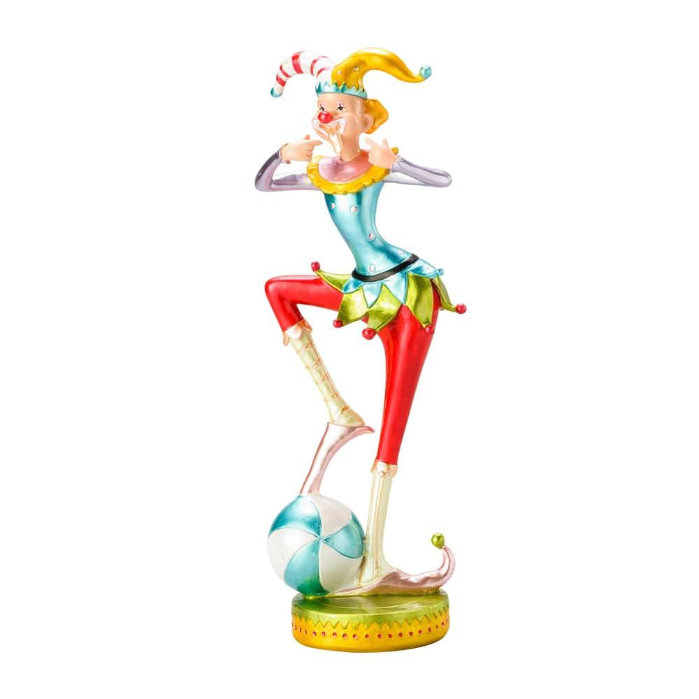 Estatueta Palhaço com Bola nos Pés em Poliresina - Lyor Design - 32,5 cm