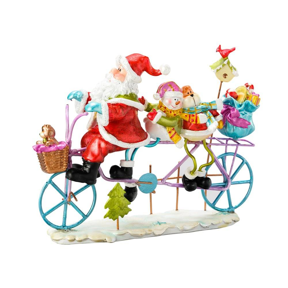 Estatueta Papai Noel e a Entrega de Presentes na Bicicleta em Poliresina - Lyor Design - 19 cm