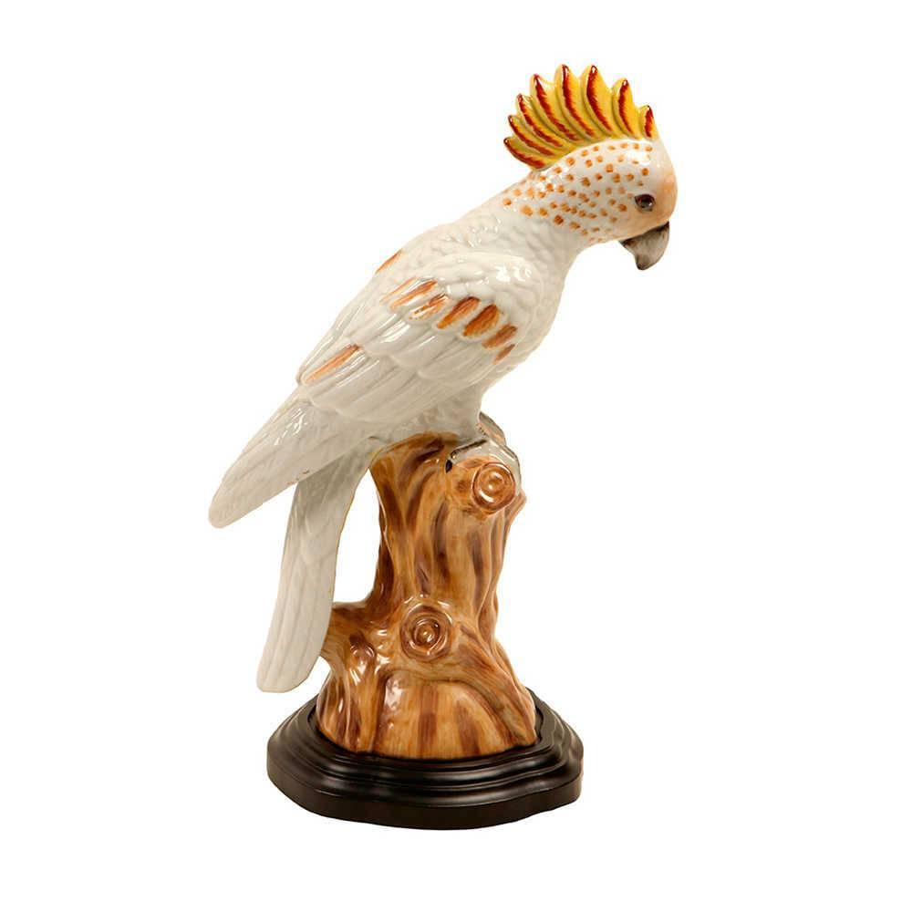 Estatueta Pássaro Amarelo com Vermelho em Porcelana - 36x20 cm