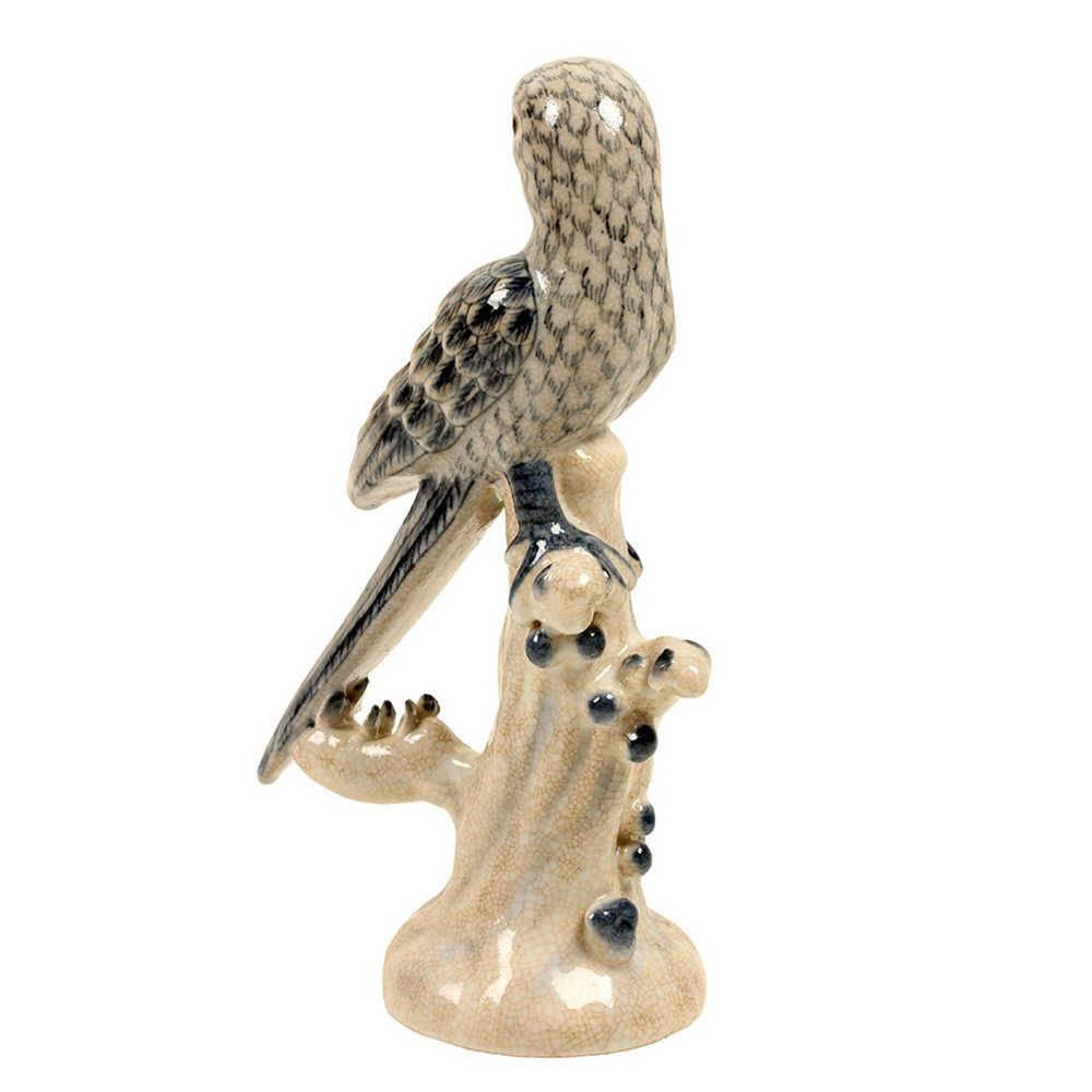 Estatueta Pássaro Azul e Branco em Porcelana - 28x15 cm