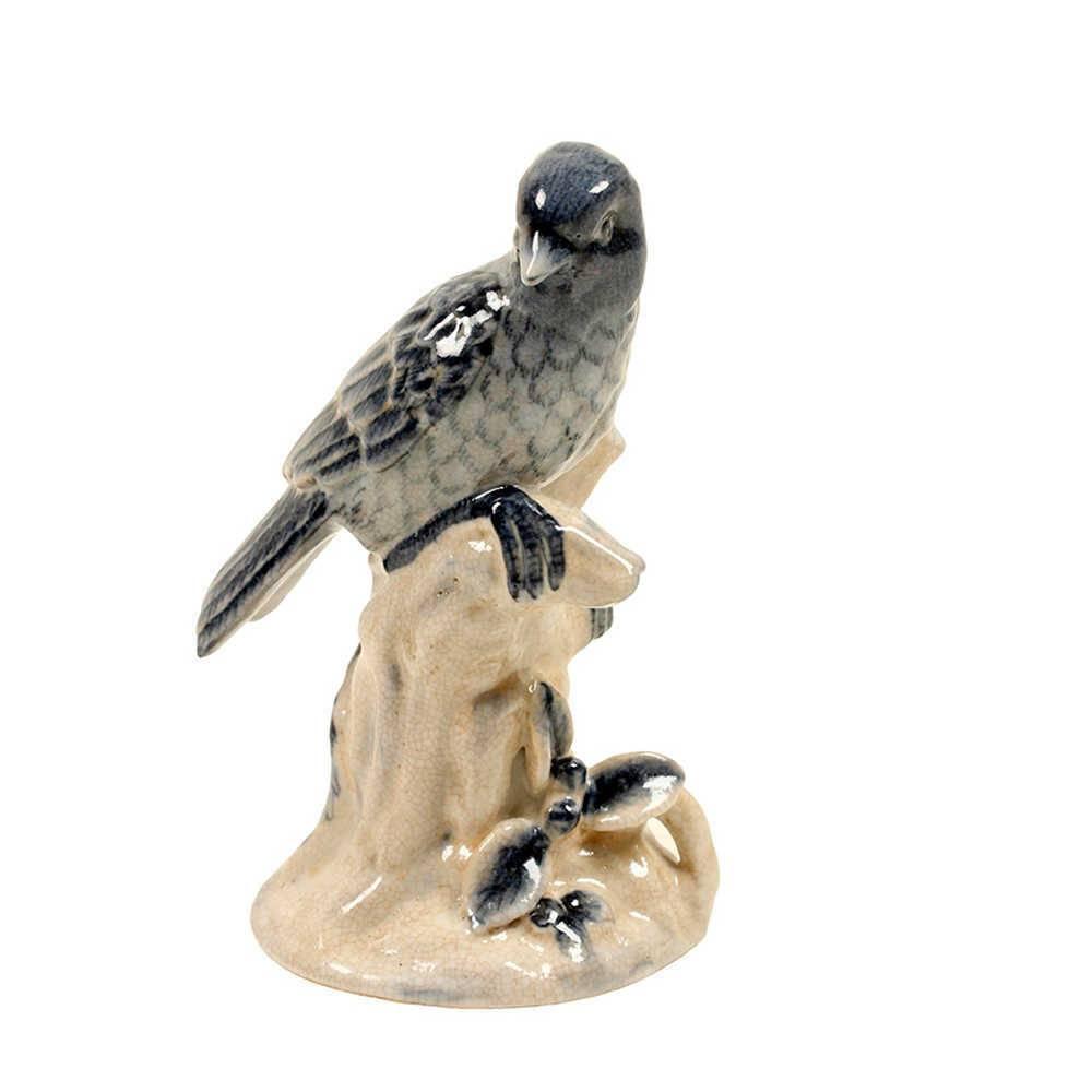 Estatueta Pássaro Azul em Porcelana - 33x25 cm