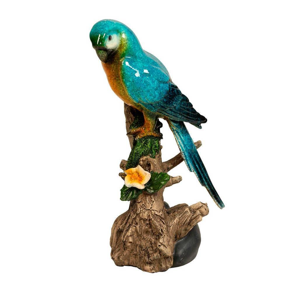 Estatueta de Pássaro Azul e Verde Pousado num Tronco em Resina - 23x10 cm
