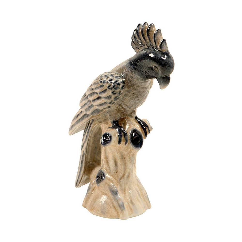 Estatueta Pássaro Bege e Azul Marinho em Porcelana - 33x25 cm