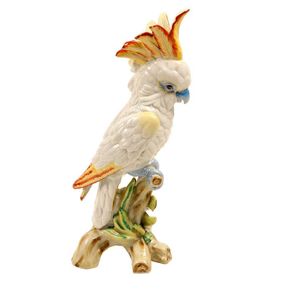 Estatueta Pássaro Branco e Amarelo Pousado no Galho em Porcelana - 45x20 cm