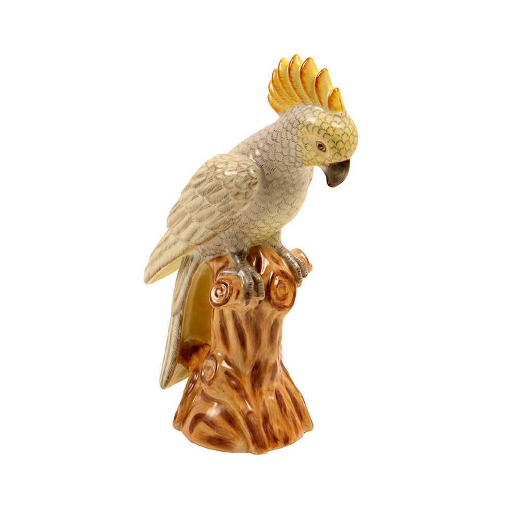 Estatueta Pássaro de Crista Amarela em Porcelana - 33x25 cm