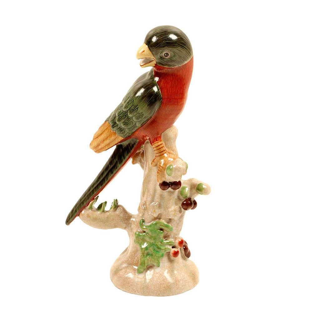 Estatueta Pássaro Esquerda Verde e Vermelho em Porcelana - 27x17 cm