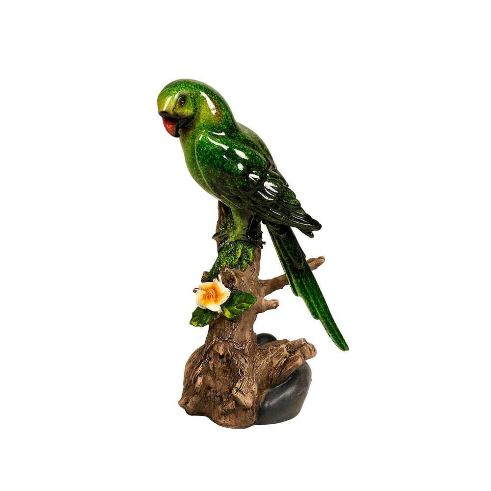 Estatueta de Pássaro Verde Pousada num Tronco em Resina - 18x11 cm