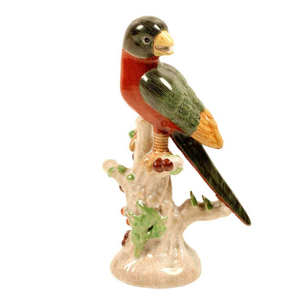 Estatueta Pássaro Verde e Vermelho em Porcelana - 27x17 cm