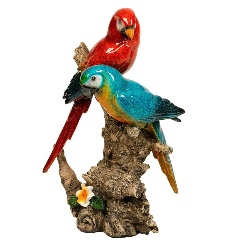 Estatueta de Pássaros Vermelho e Azul Pousado num Tronco em Resina - 18x12 cm