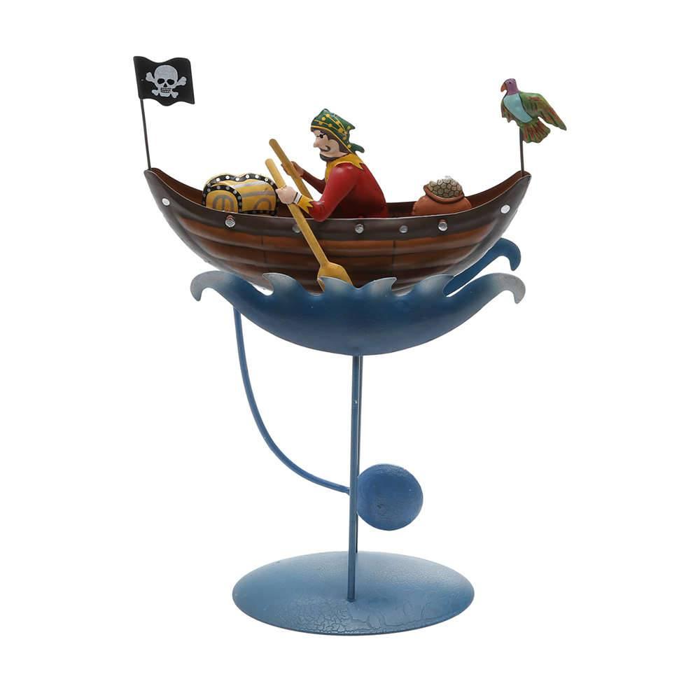 Estatueta Pirata e o Tesouro em Metal - com Balanço - Prestige - 36x16 cm