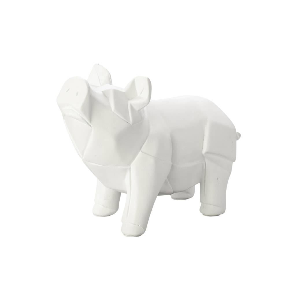 Estatueta Porquinho Origami em Poliresina - Lyor Classic - 22 cm
