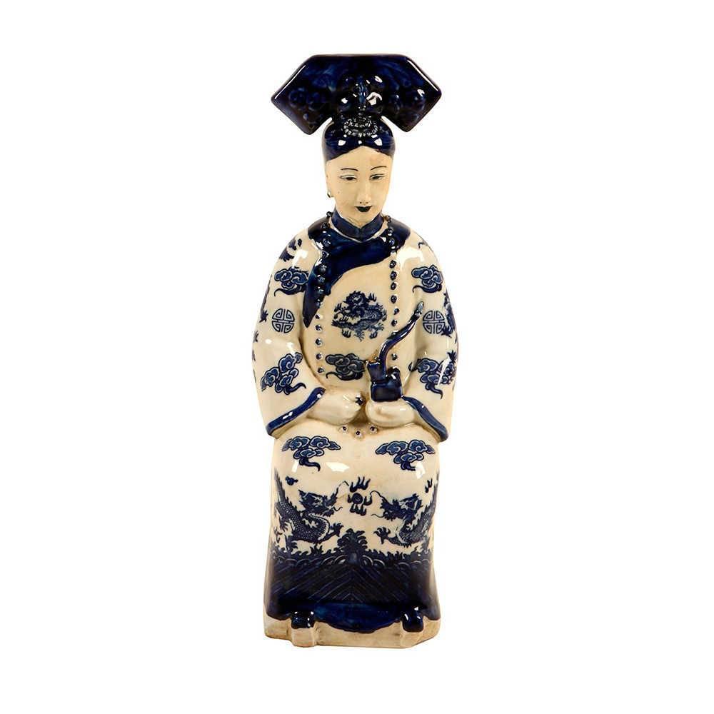 Estatueta Rainha Chinesa Sentada Azul e Branco em Porcelana - 33x12 cm