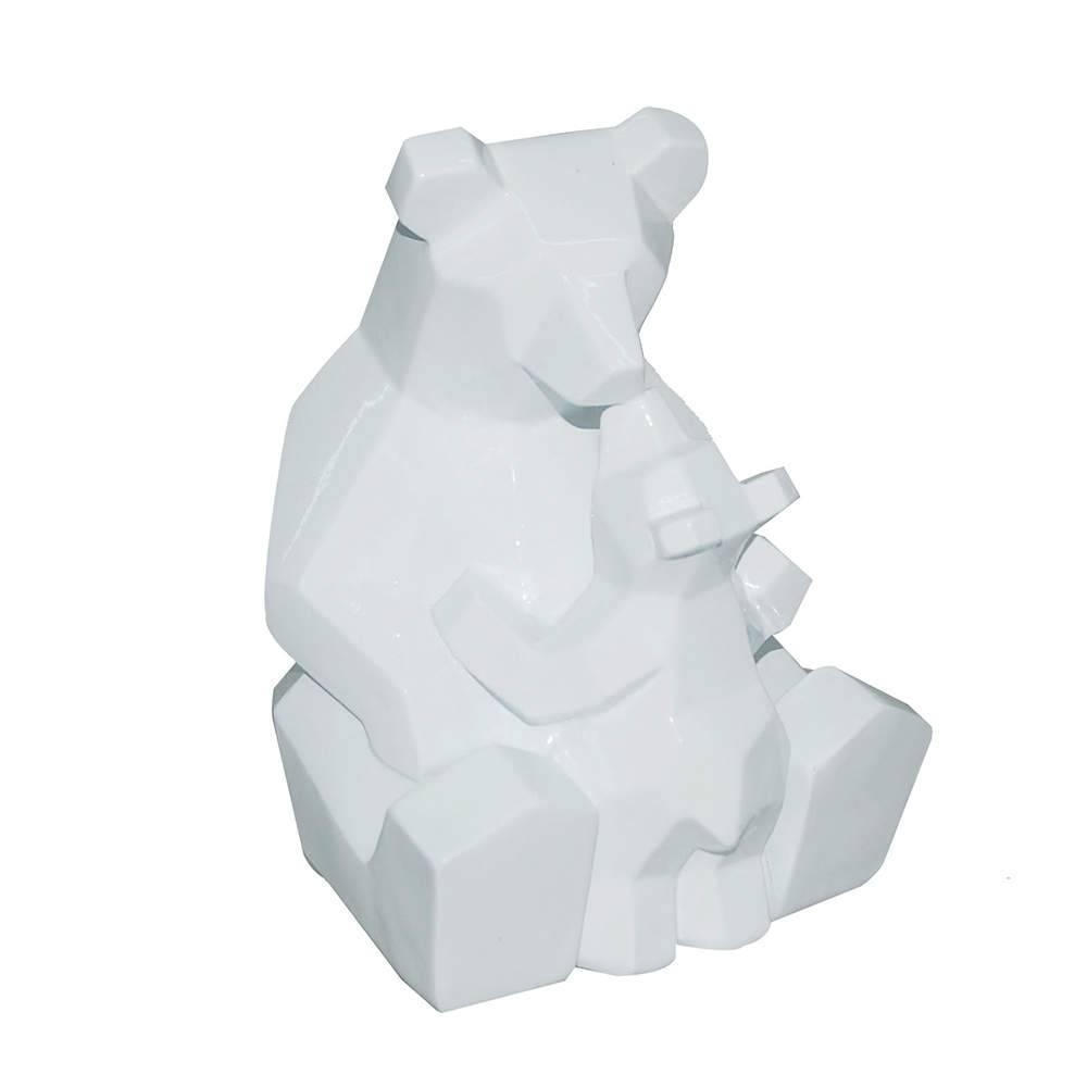 Estatueta Resina Bear And Baby Branco em Resina - Urban - 19,5x15 cm