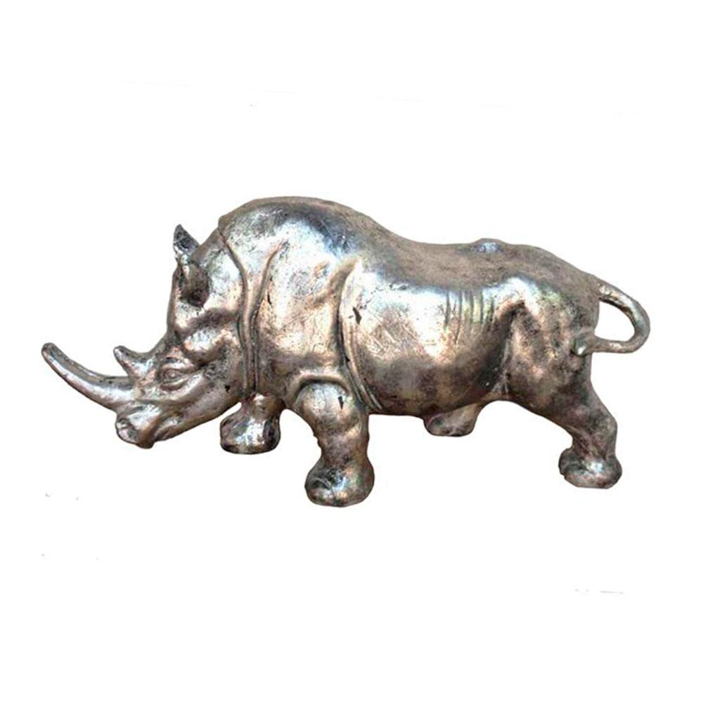 Estatueta Rinoceronte Prata em Metal - 58x27,5 cm