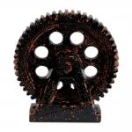 Estatueta Roda Engrenada Preta em Cerâmica
