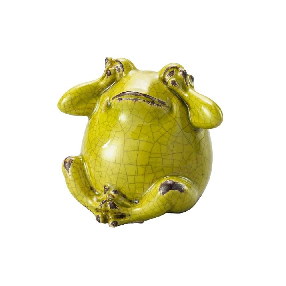 Estatueta Sapo Do Not Listen Verde em Cerâmica - Lyor Classic - 12,3x10,8 cm